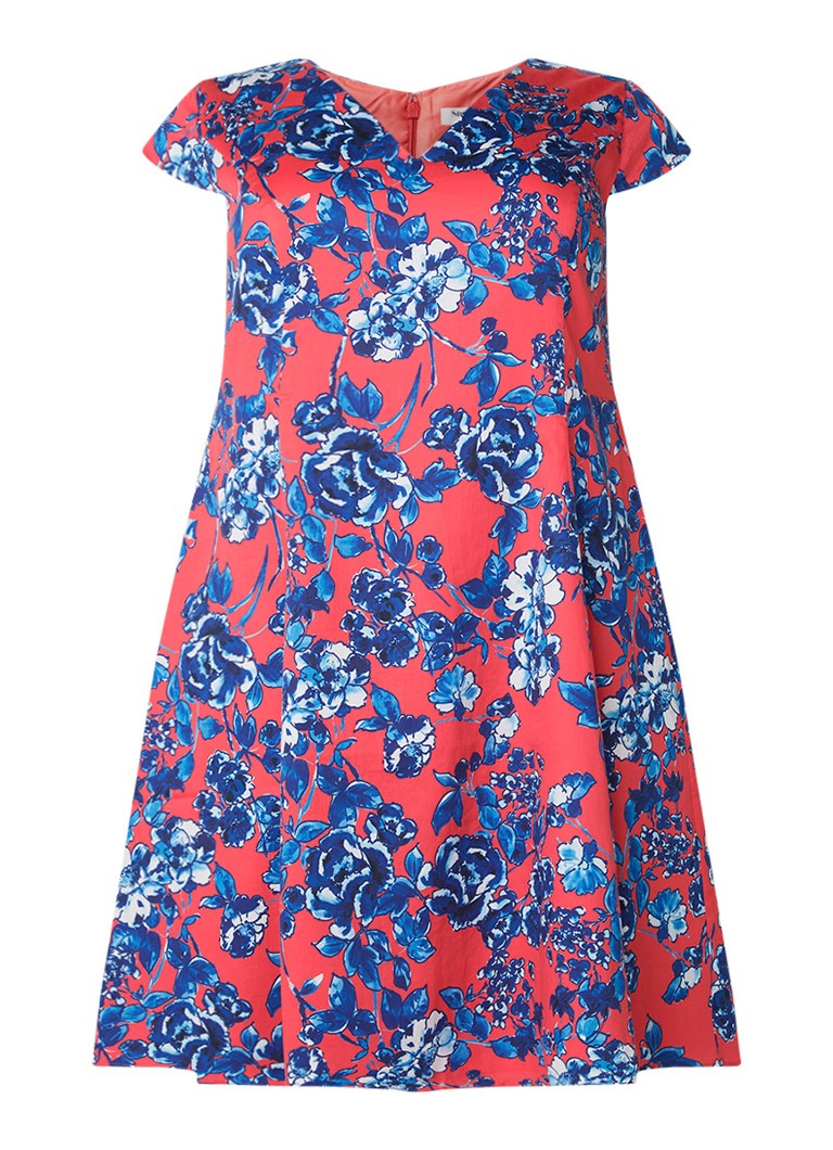 Studio 8 Martelle A-lijn jurk met bloemendessin koraal