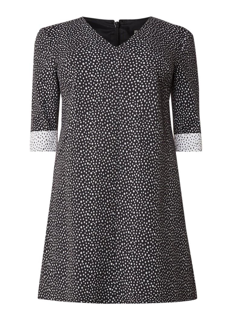 Studio 8 Meredith midi-jurk in katoenblend met dessin zwart