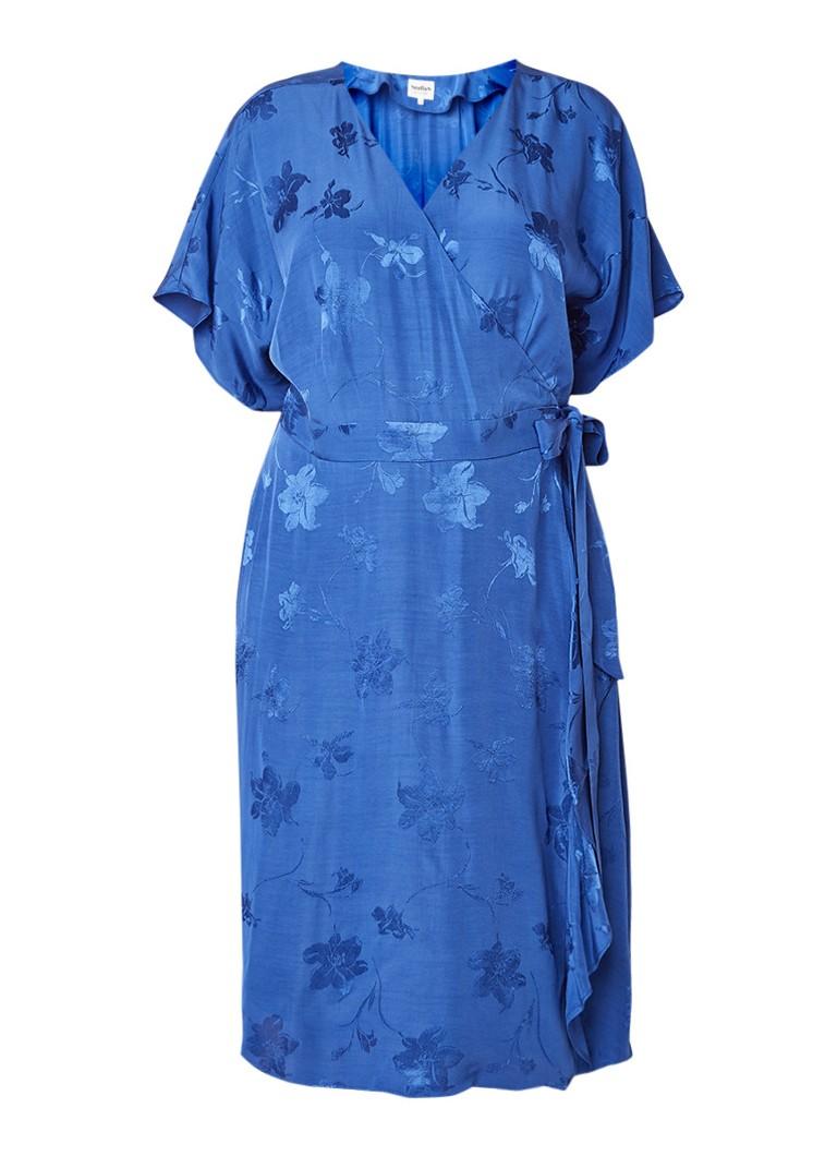 Studio 8 Orla wikkeljurk met gebloemd jacquarddessin middenblauw