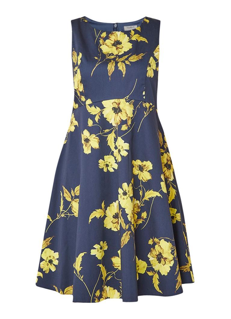 Studio 8 Charissa A-lijn jurk met bloemendessin donkerblauw