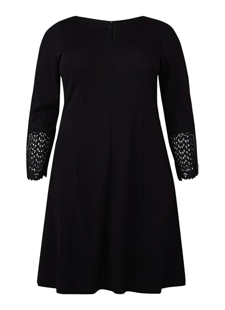 Studio 8 Cora A-lijn jurk met manchet van kant zwart