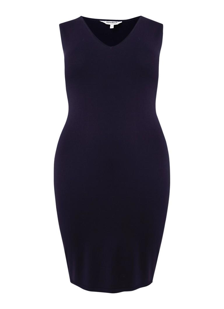 Studio 8 Fiamma mouwloze jurk van jersey met V-hals donkerblauw