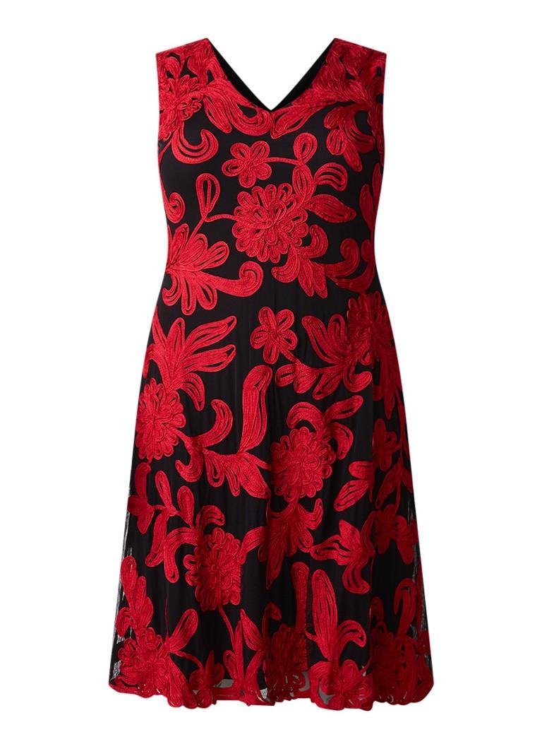 Studio 8 Ottoline A-lijn jurk met bloem-applicatie en mesh zwart