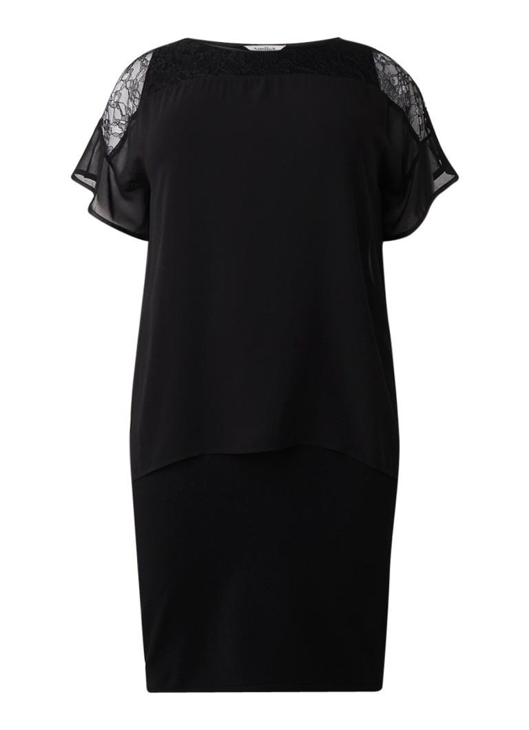 Studio 8 Pamela gelaagde midi-jurk met inzet van kant zwart