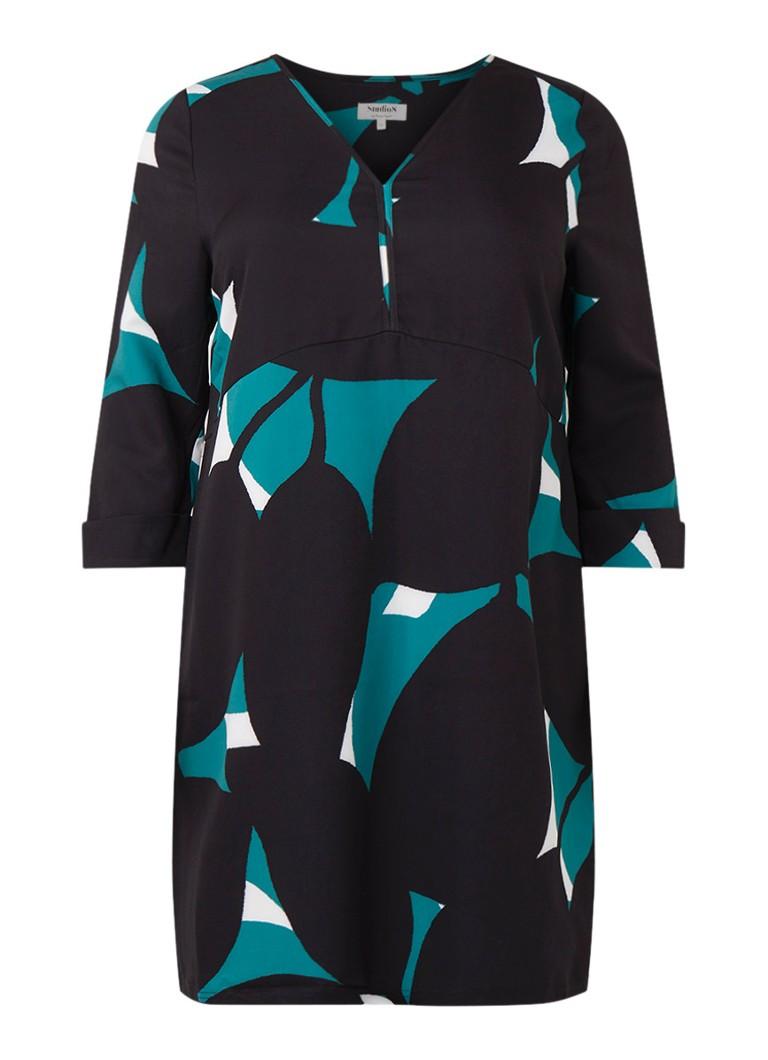 Studio 8 Vanessa A-lijn jurk met abstract dessin zeegroen