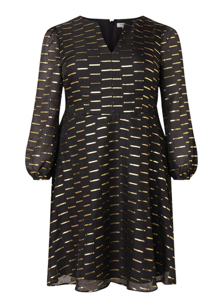 Studio 8 Davina A-lijn jurk met lurex zwart