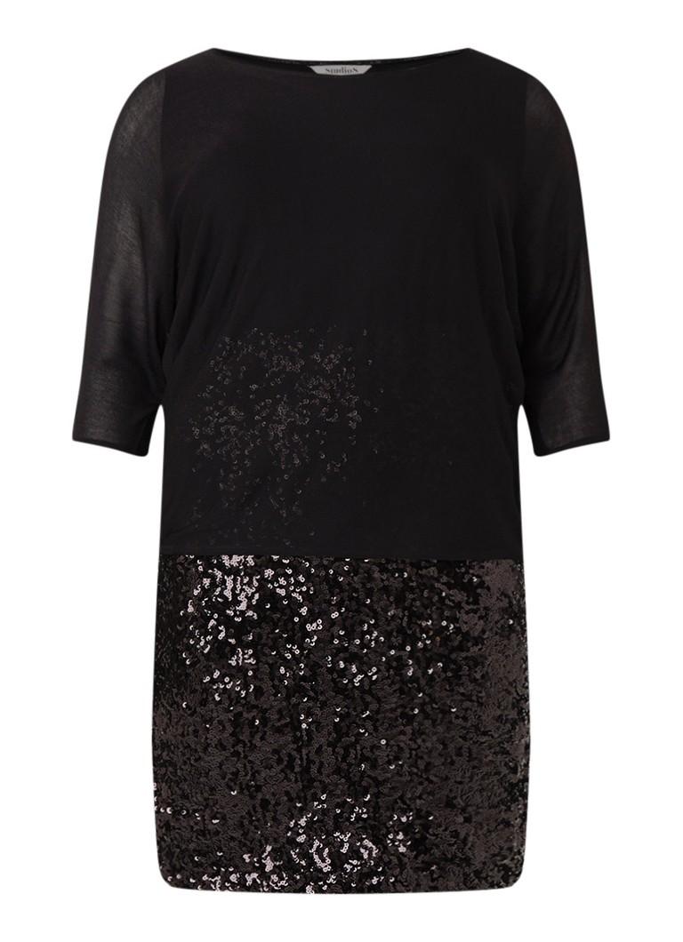 Studio 8 Pixie midi-jurk van pailletten met overlay zwart