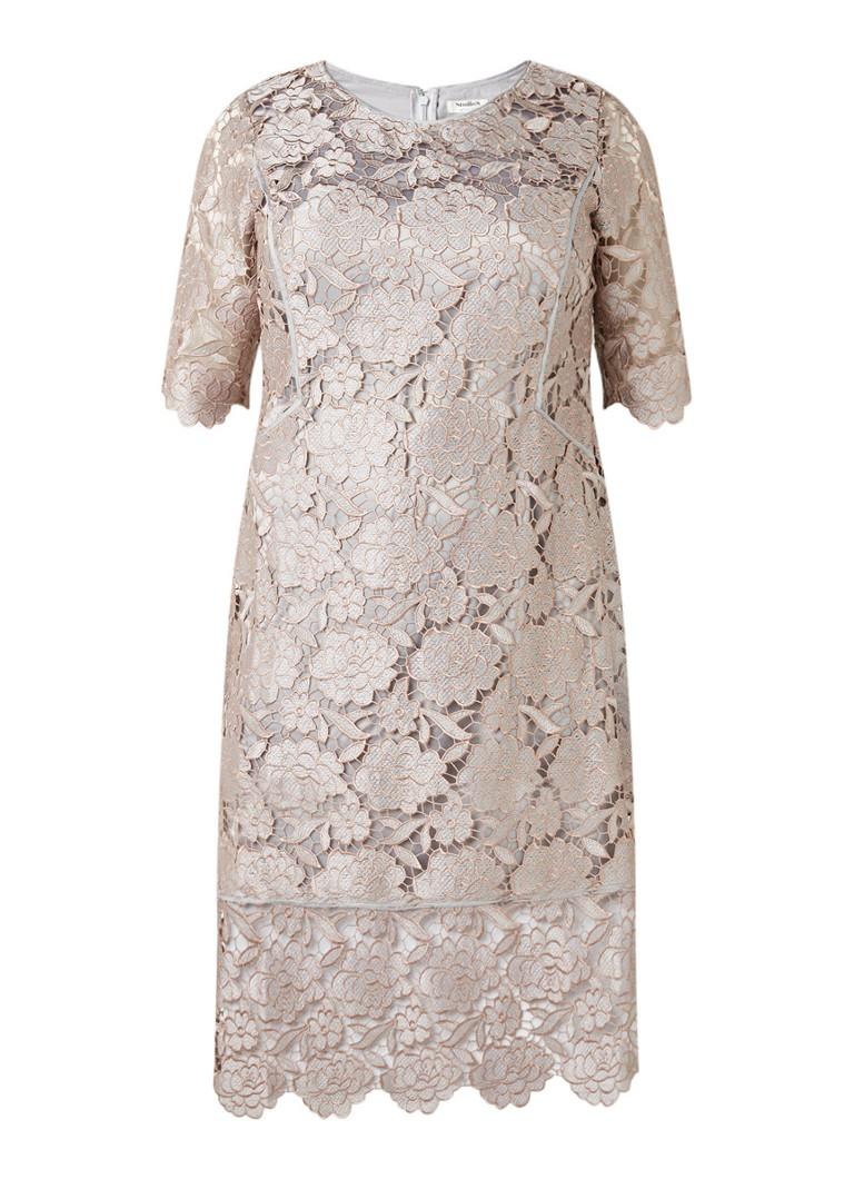 Studio 8 Roselind jurk van guipure kant met halflange mouw zilver
