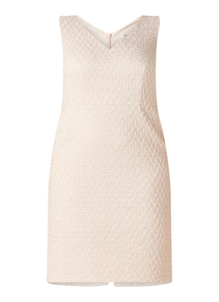 Studio 8 Nieve jurk met structuur en jacquard dessin lichtroze