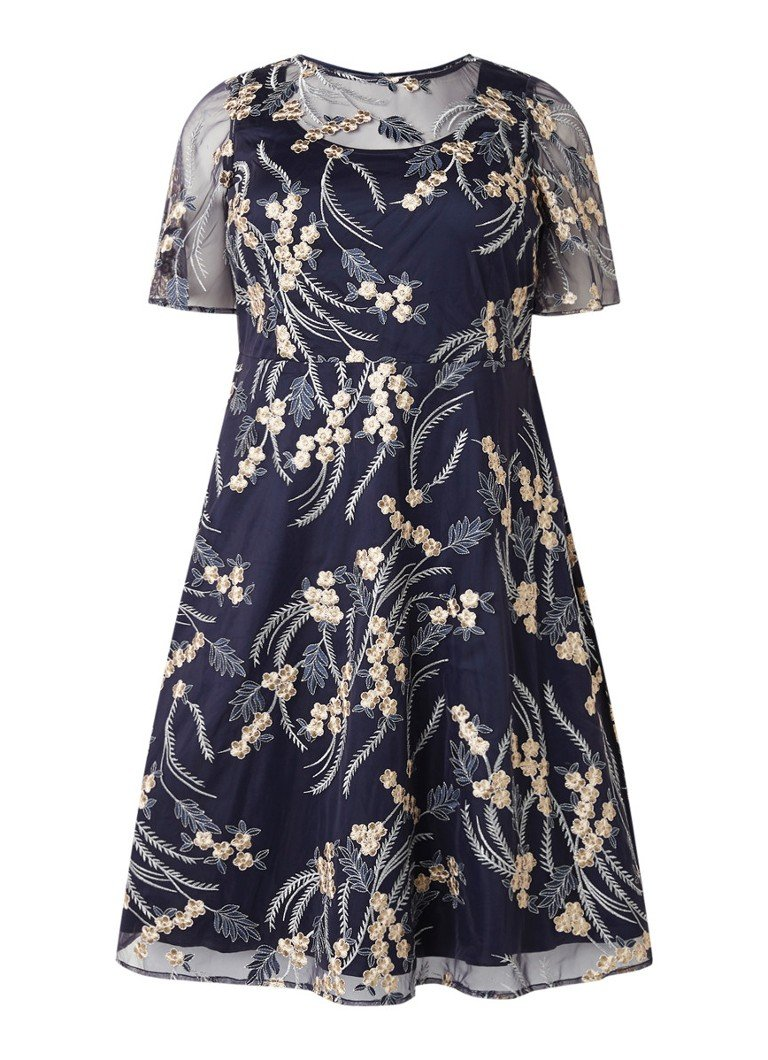 Studio 8 Elfie A-lijn jurk met bloemenborduring en mesh donkerblauw