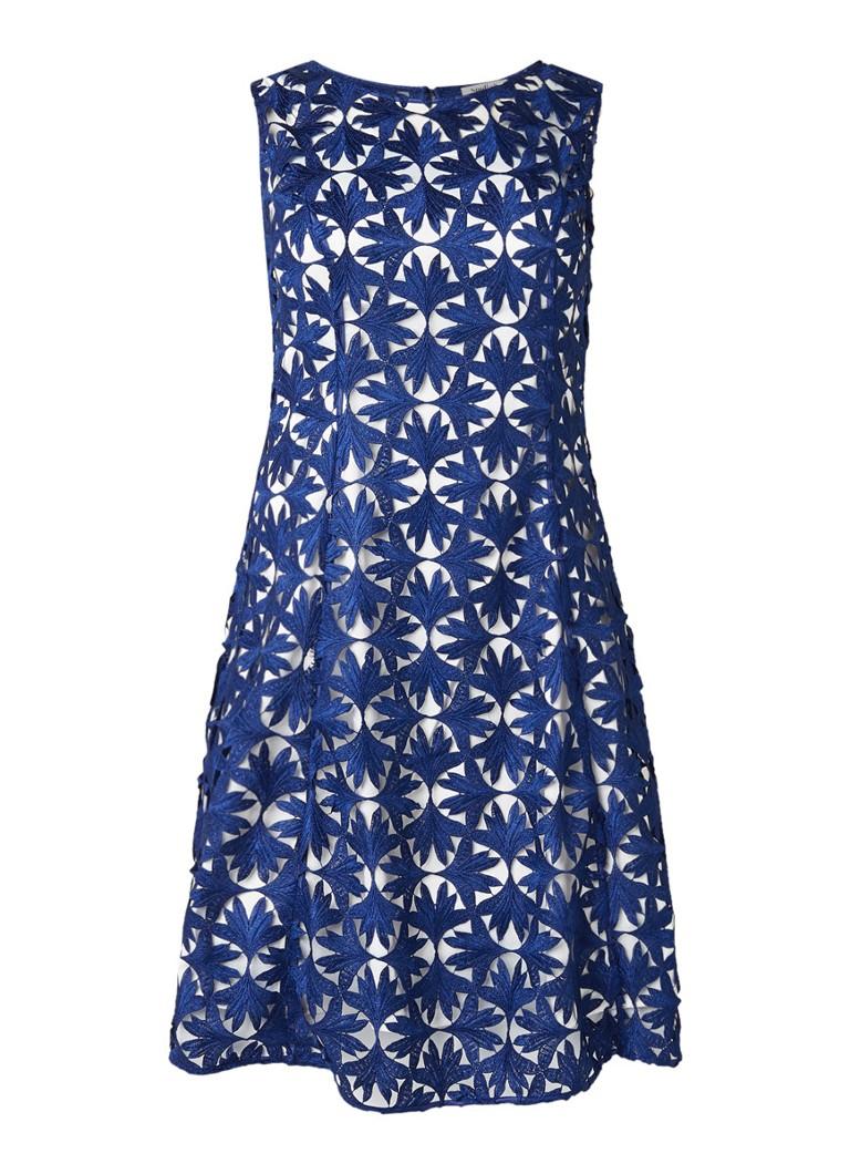 Studio 8 Lilah midi-jurk met opengewerkt dessin kobaltblauw