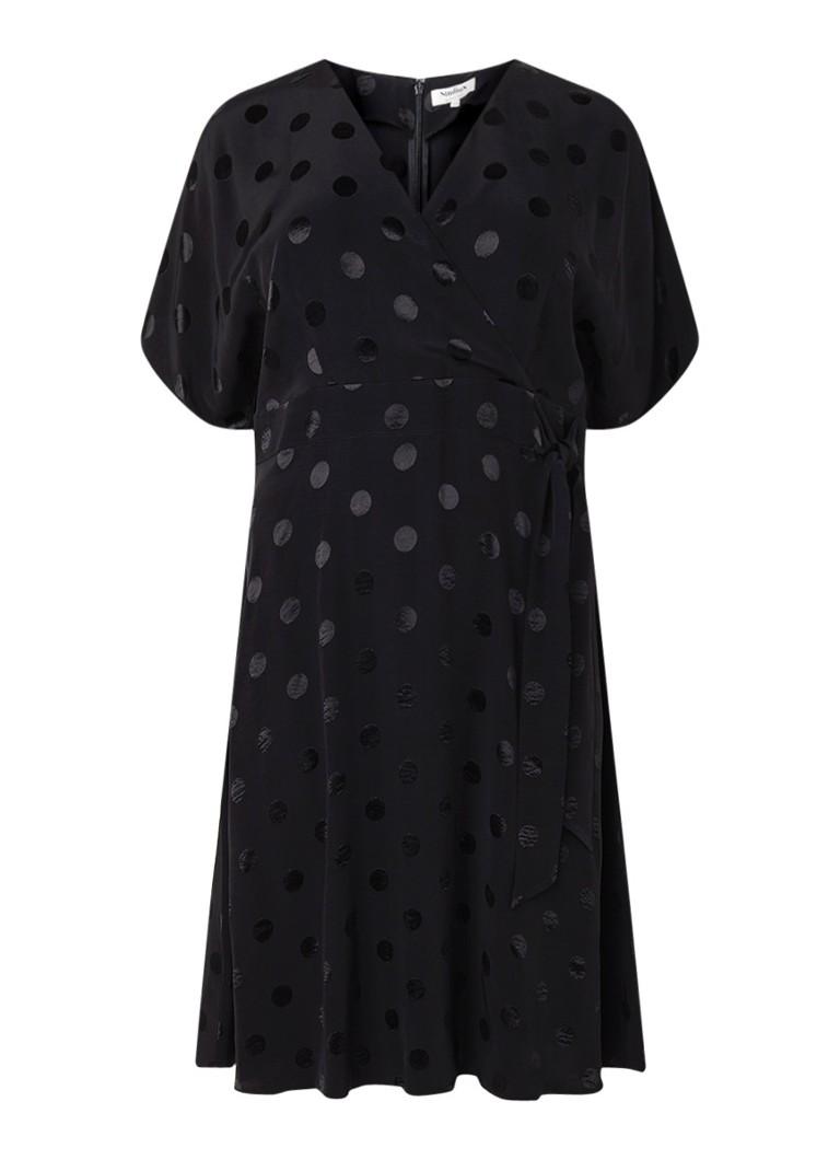 Studio 8 Whitney gestipte jurk met strikceintuur zwart