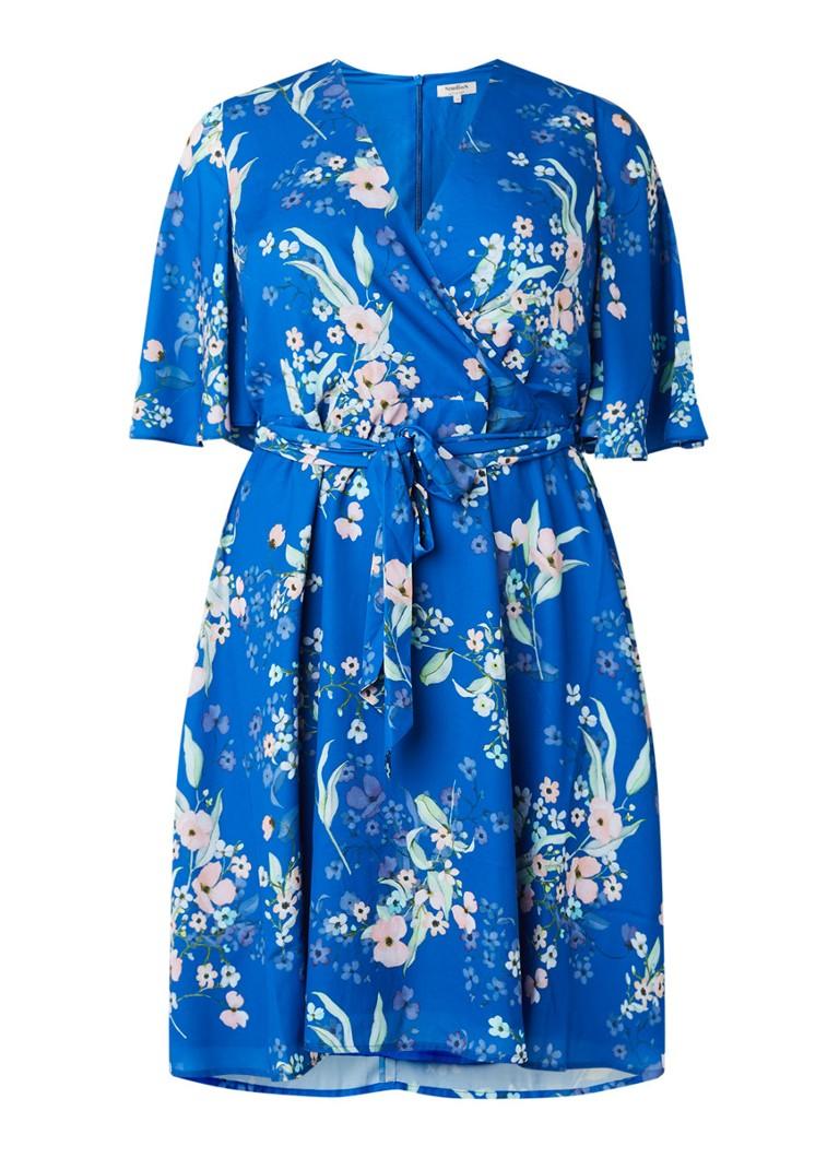 Studio 8 Sabine A-lijn jurk met bloemendessin en strikceintuur blauw