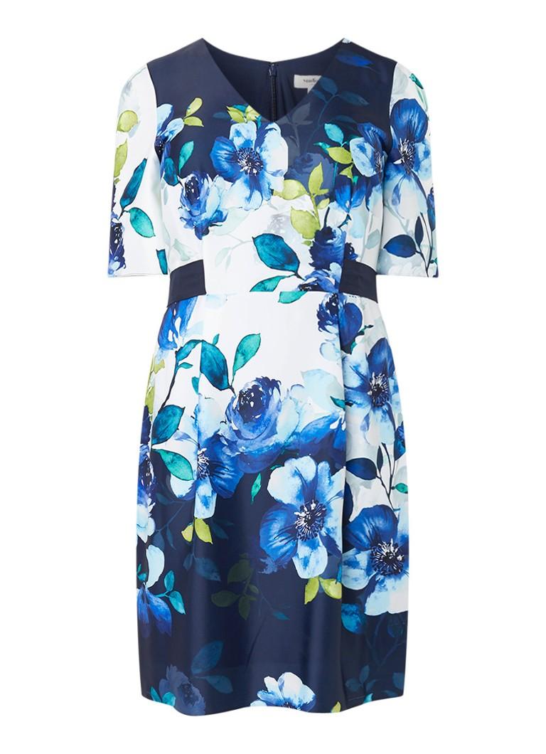 Studio 8 Anise jurk met bloemendessin en strikceintuur blauw
