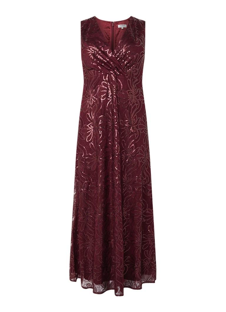 Studio 8 Hope maxi-jurk met pailletten en V-hals aubergine