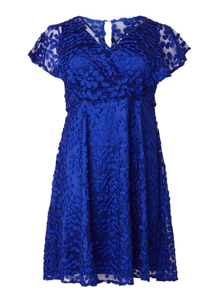 Studio 8 Tiana A-lijn jurk van kant met borduursels kobaltblauw