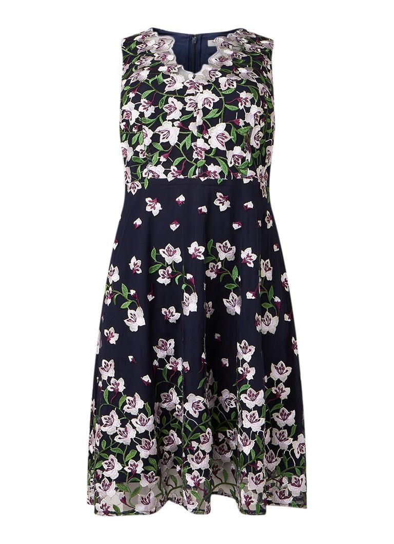 Studio 8 Stephanie A-lijn jurk met overlay van mesh en bloemendessin donkerblauw