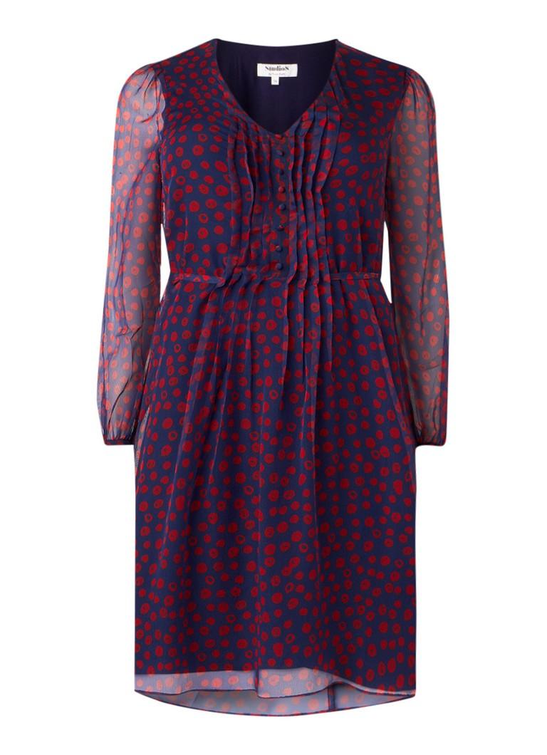 Studio 8 Jada A-lijn jurk met plooidetails en stippendessin donkerblauw