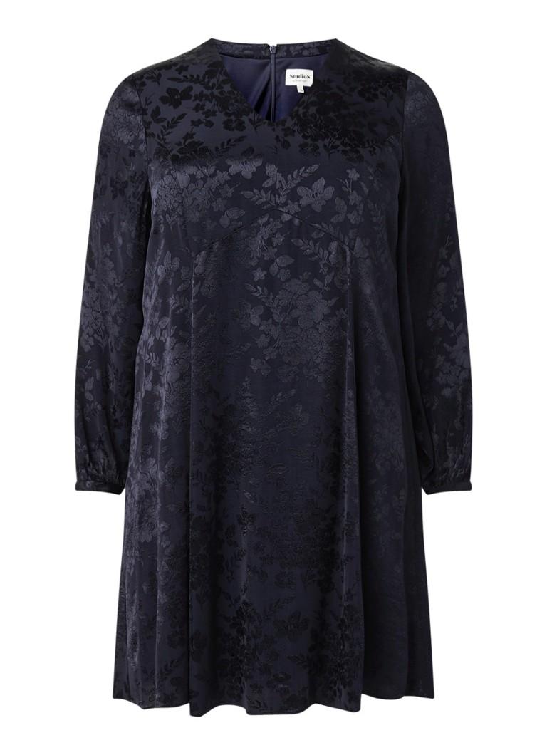 Studio 8 Marjorie A-lijn jurk van satijn met bloemendessin donkerblauw