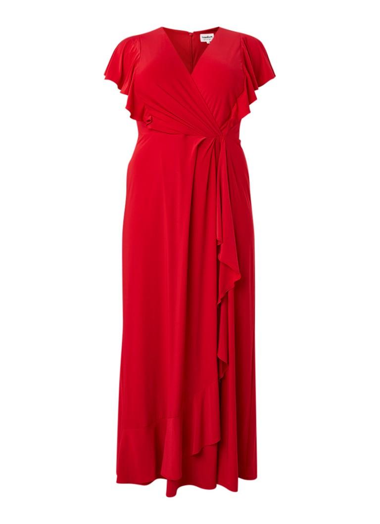 Studio 8 Camilla maxi-jurk met ruches en volant rood