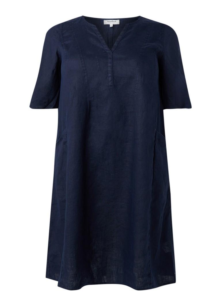 Studio 8 Monty tuniekjurk van linnen donkerblauw