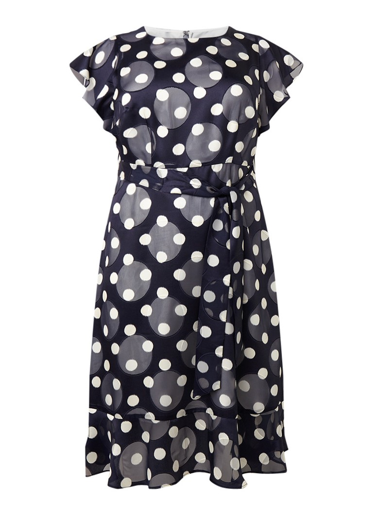 Studio 8 Viviana A-lijn jurk met stippendessin en volants donkerblauw