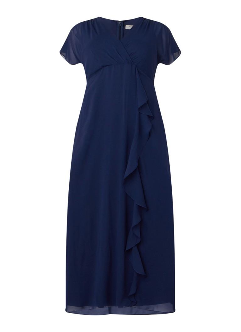 Studio 8 Phoenix maxi-jurk van chiffon met volant donkerblauw