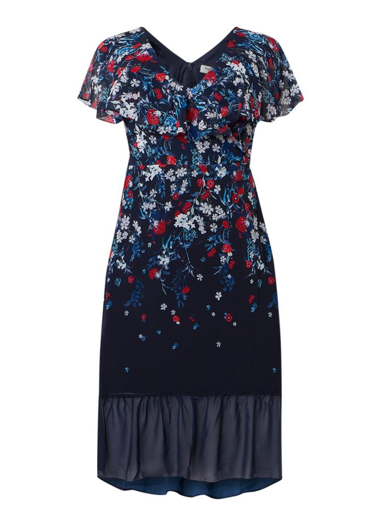 Studio 8 Imogen midi-jurk met volant en bloemendessin donkerblauw