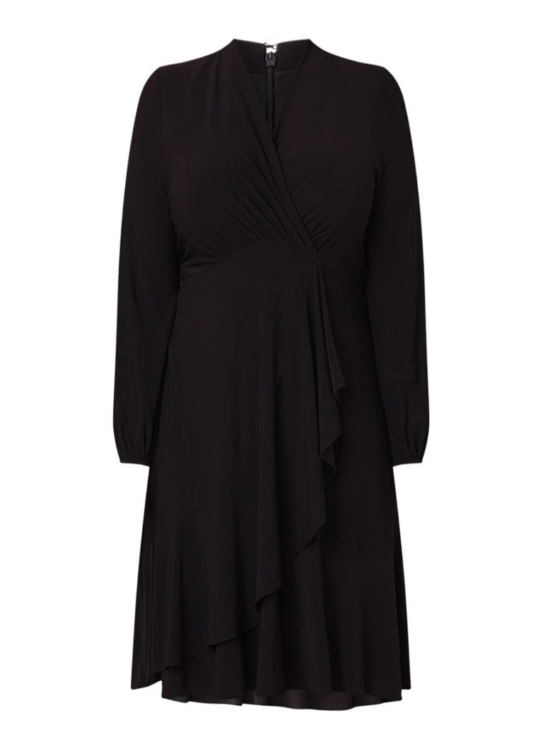 Studio 8 Shanna A-lijn jurk met overslag en volants zwart