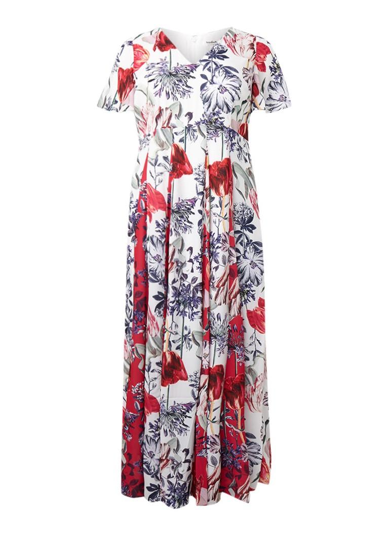 Studio 8 Patricia maxi-jurk met bloemendessin en plissé rood
