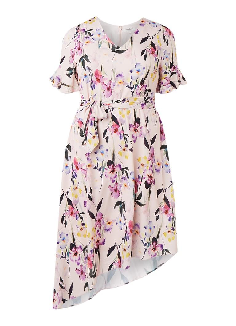 Studio 8 Calie midi-jurk met bloemendessin en strikceintuur lichtroze