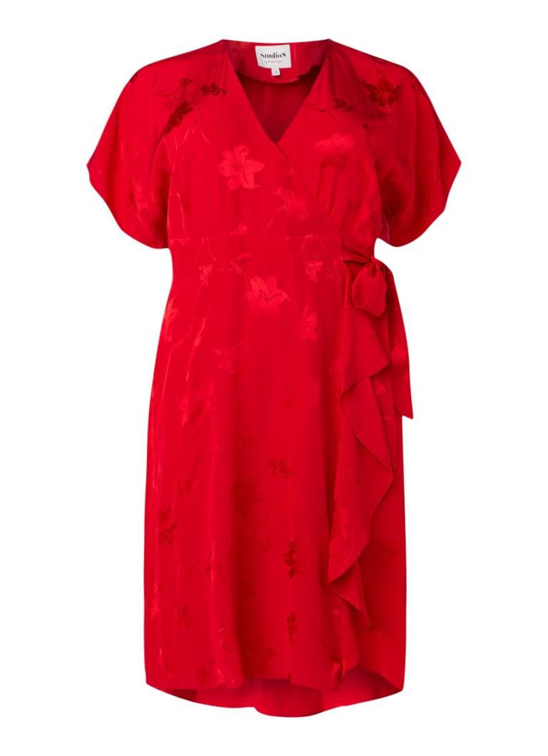 Studio 8 Orla wikkeljurk van satijn met kimono look rood