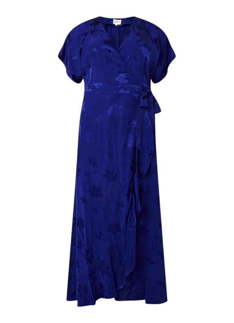 Studio 8 Phoebe maxi wikkeljurk van satijn met bloemendessin kobaltblauw
