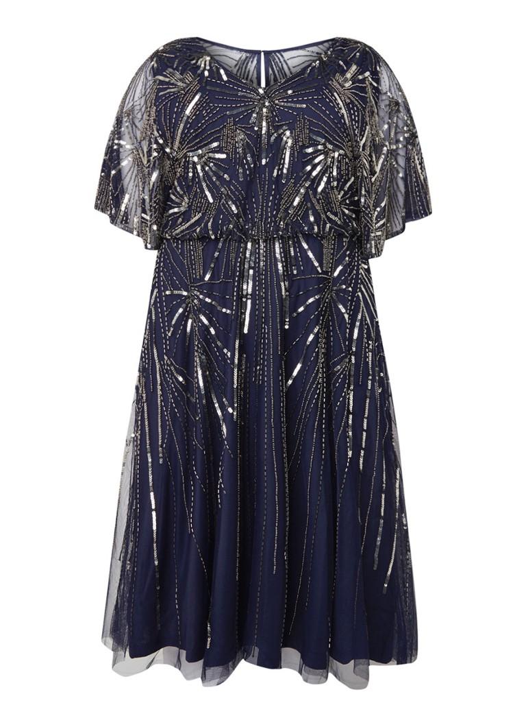 Studio 8 Zoe midi-jurk van mesh met pailletten donkerblauw