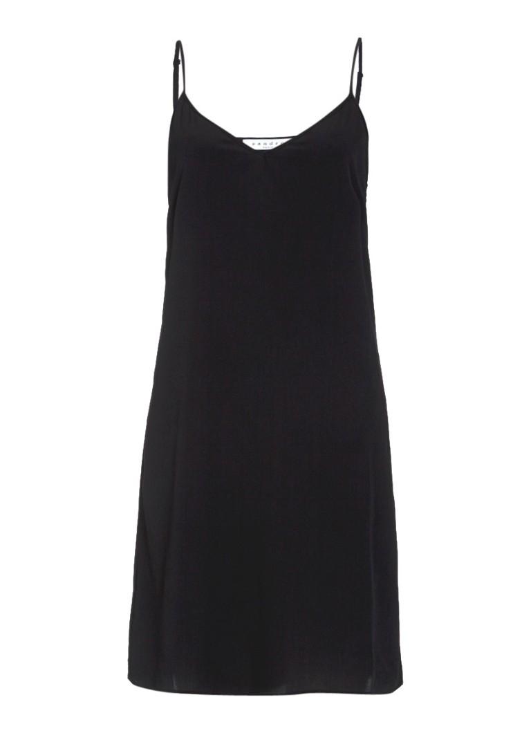 Sandro Gladgeweven jurk met spaghettibandjes zwart