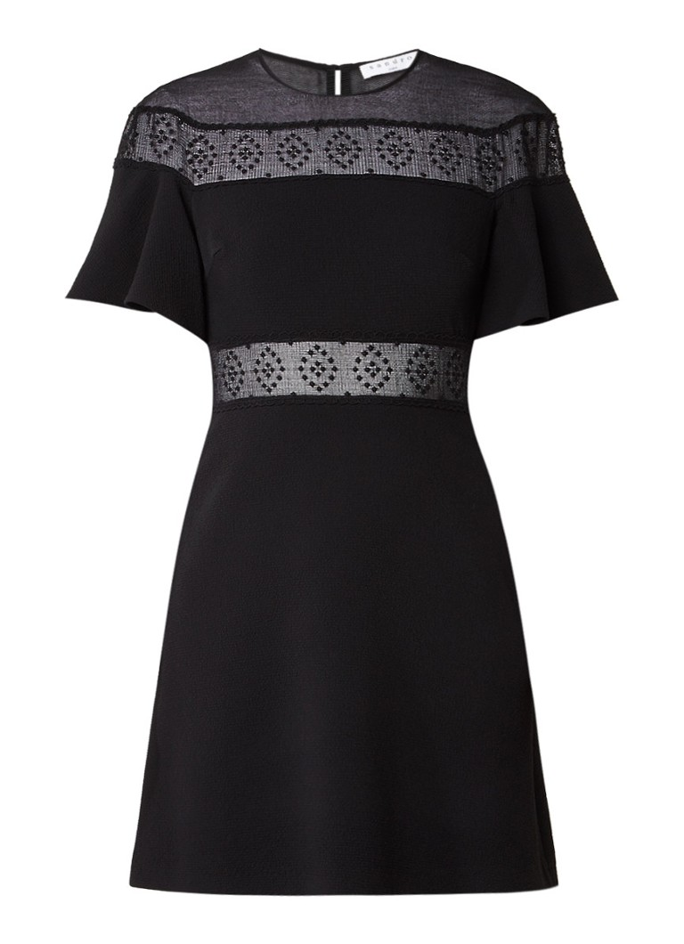 Sandro A-lijn jurk met broderie en overlay