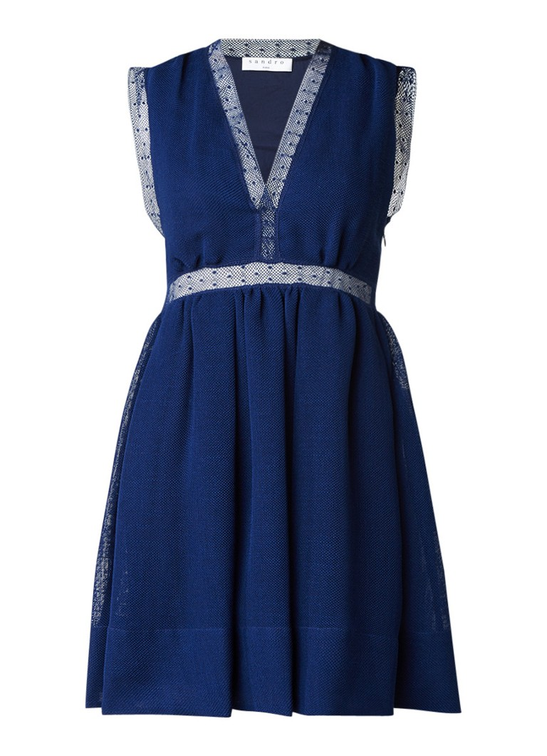 Sandro A-lijn jurk met opengewerkte overlay donkerblauw