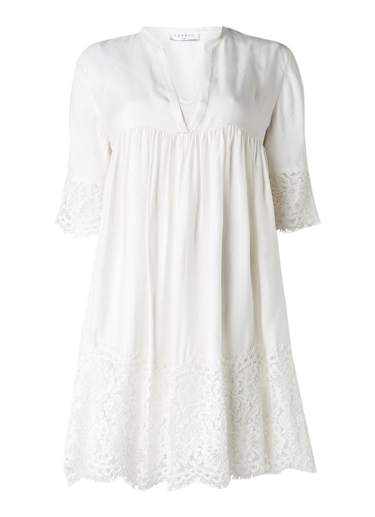 Sandro A-lijn jurk met afwerking van kant gebroken wit