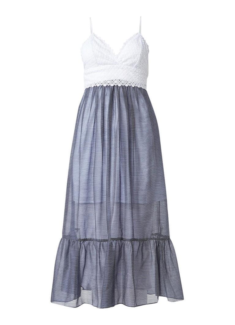 Sandro Maxi-jurk met top van kant donkerblauw