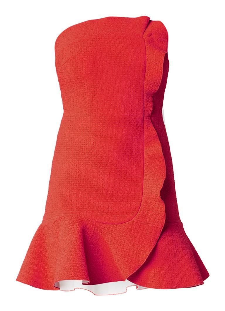 Sandro Strapless jurk met volant koraalrood