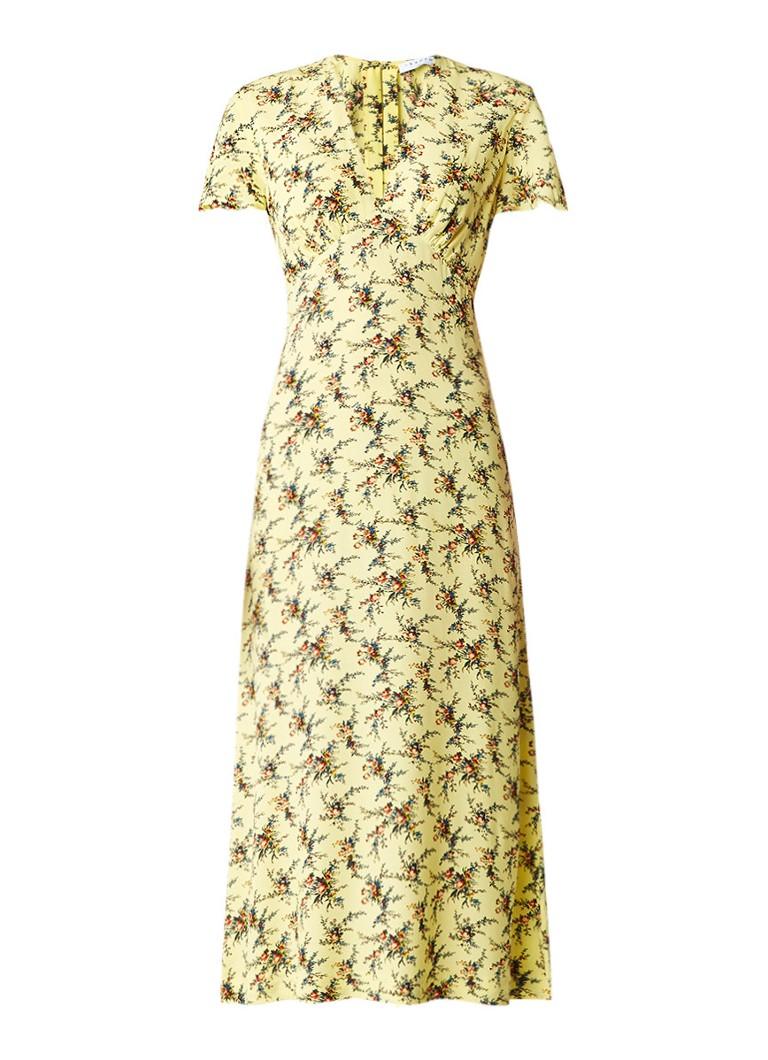 Sandro Maxi-jurk met gebloemd dessin geel