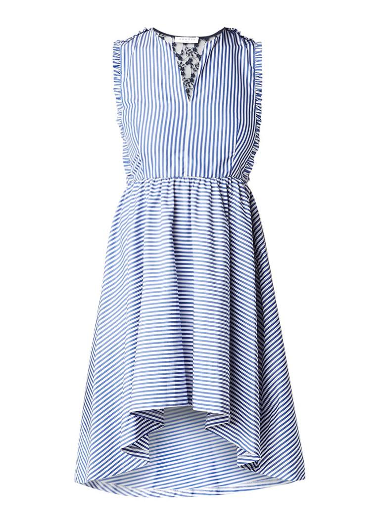 Sandro A-lijn jurk met streepdessin en achterzijde van kant blauw