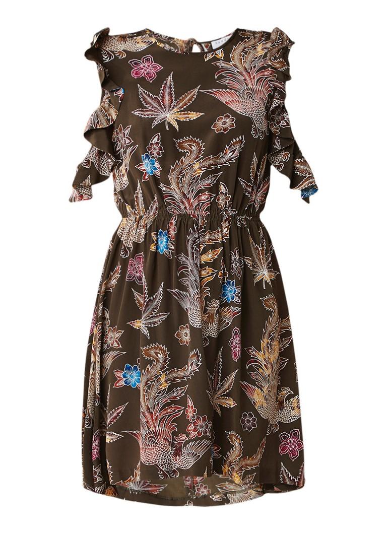 Sandro Cold shoulder jurk van zijde met rugdecolleté olijfgroen