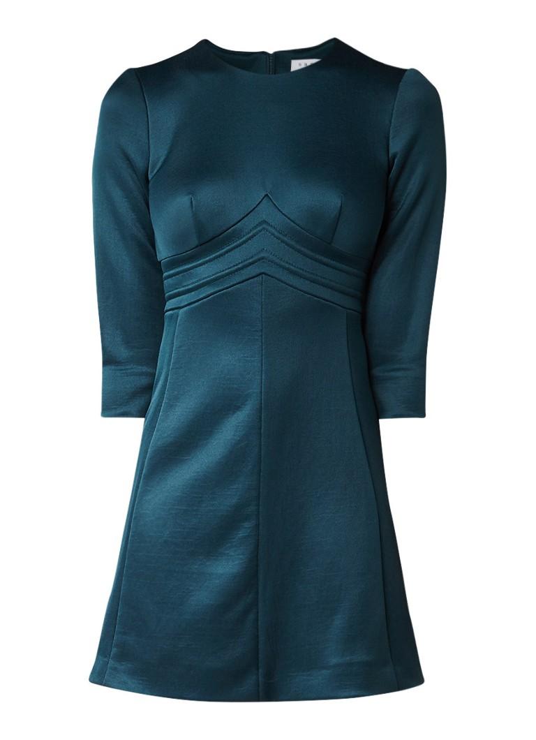 Sandro A-lijn jurk met opgestikte details petrol
