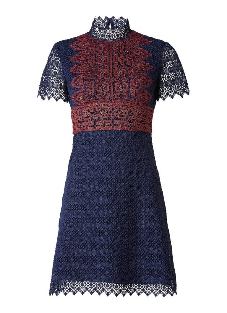 Sandro A-lijn jurk van kant met contrast van lurex donkerblauw