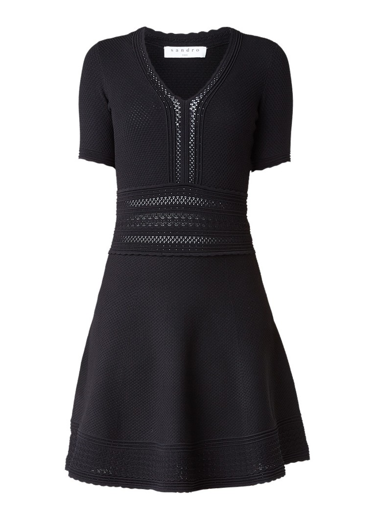 Sandro A-lijn jurk met ingeweven structuur staalblauw
