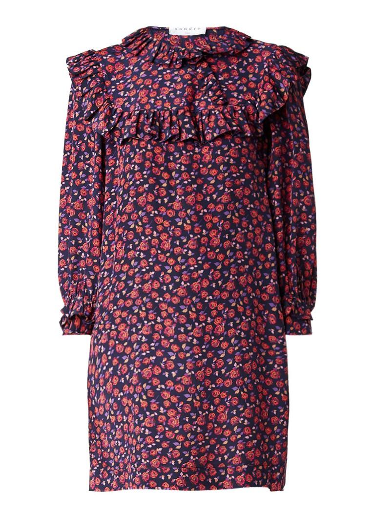 Sandro Korte jurk van zijde met gebloemd dessin en ruches donkerroze