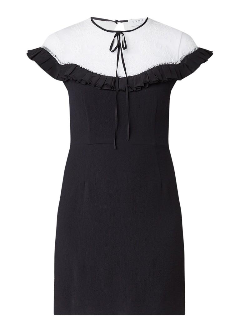 Sandro Farah mini-jurk met inzet van kant en ruches zwart