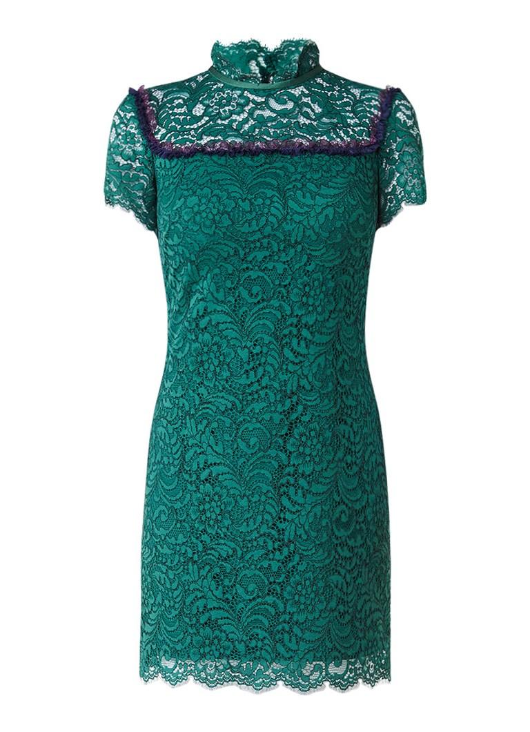 Sandro Mini-jurk van gebloemd kant bronsgroen