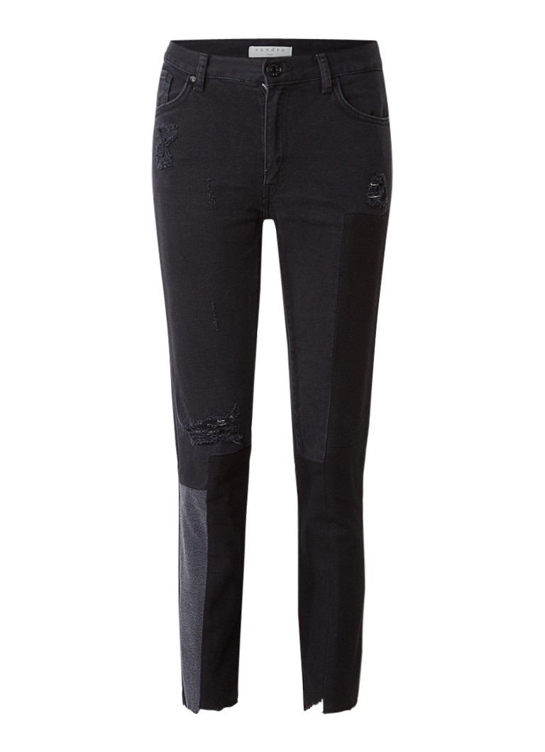 Sandro high rise skinny cropped destroyed jeans